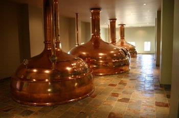 The copper kettles in the Hilltop Brewhouse.
